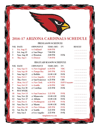 Arizona Cardinals 2016-2017 Schedule