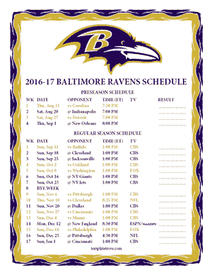 Baltimore Ravens 2016-17 Printable Schedule