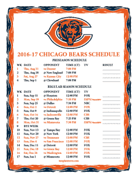 Chicago Bears 2016-2017 Schedule