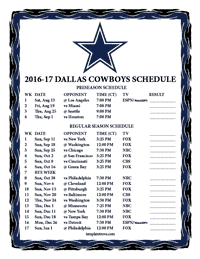Dallas Cowboys 2016-2017 Schedule