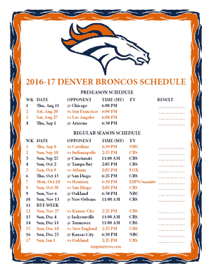 Denver Broncos 2016-17 Printable Schedule