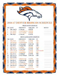 Denver Broncos 2016-2017 Schedule