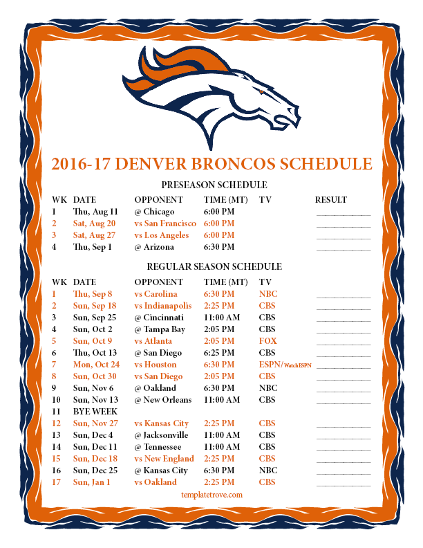 Printable 2016 2017 Denver Broncos Schedule