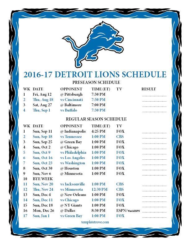 Printable 2016-2017 Detroit Lions Schedule