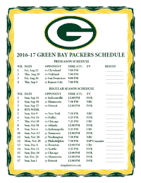 Green Bay Packers 2016-2017 Schedule