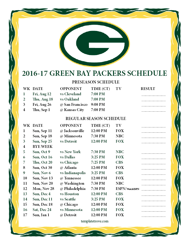 612 x 792 png 67kB, Printable 2016-2017 Green Bay Packers Schedule