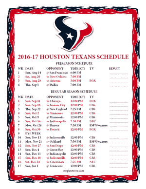 HoustonTexans 2016-17 Printable Schedule