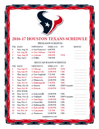 Houston Texans 2016-2017 Schedule