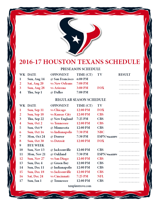 graphic regarding Nfl Week 7 Printable Schedule called Printable 2016-2017 Houston Texans Program