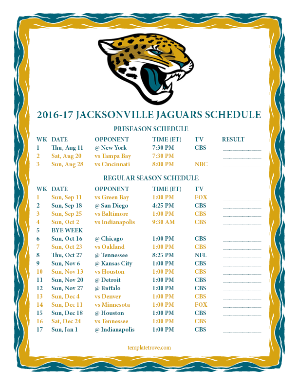 612 x 792 png 96kb printable 2016 2017 jacksonville jaguars schedule. Cars Review. Best American Auto & Cars Review
