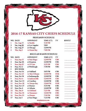 Kansas City Chiefs 2016-17 Printable Schedule