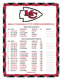 Kansas City Chiefs 2016-2017 Schedule
