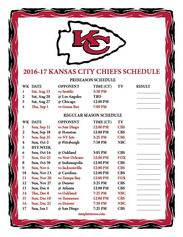 Printable Calendar Ks : Kansas city chiefs schedule search results