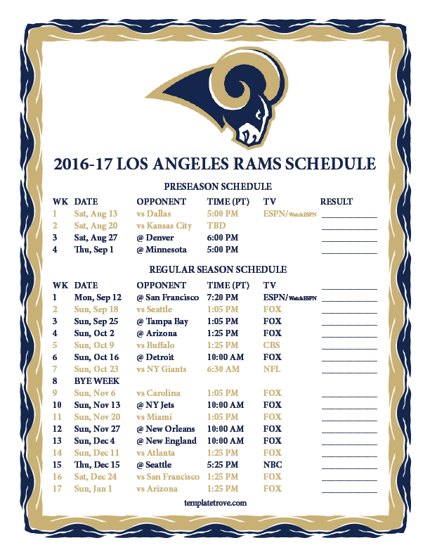 photo about Nfl Week 13 Printable Schedule titled Printable 2016-2017 Los Angeles Rams Plan