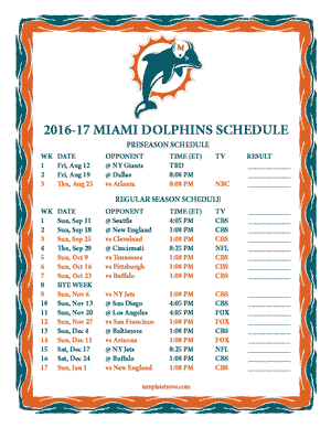 Miami Dolphins 2016-17 Printable Schedule