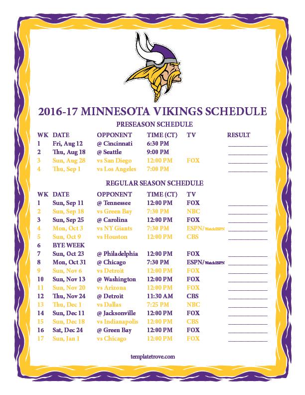 ae4513b0 Printable 2016-2017 Minnesota Vikings Schedule
