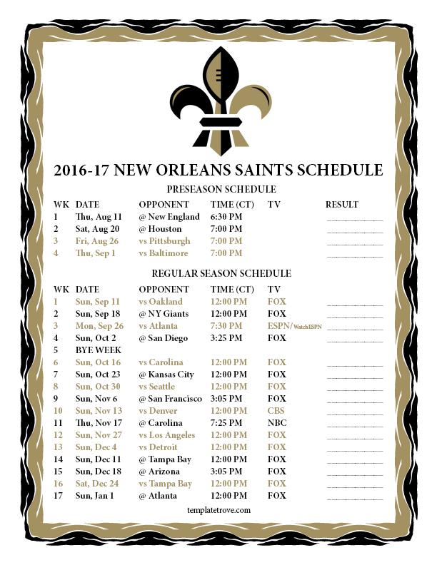 ... Panthers Schedule 2016 2017 Printable   Calendar Template 2016
