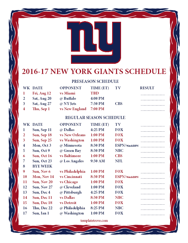 Printable 2016-2017 New York Giants Schedule