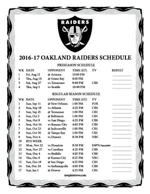 Oakland Raiders 2016-17 Printable Schedule