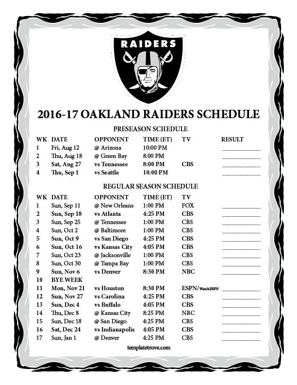 Printable 2016 2017 Oakland Raiders Schedule