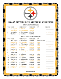 Pittsburgh Steelers 2016-2017 Schedule