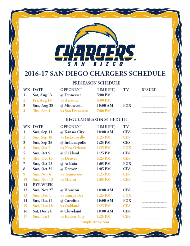 printable 2016 2017 san diego chargers schedule