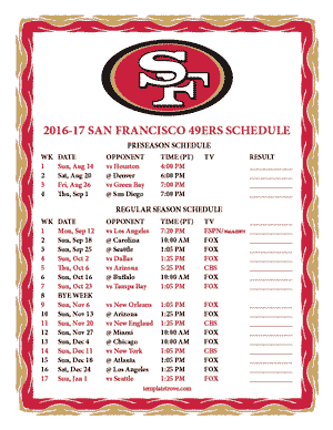 San Francisco 49ers 2016-17 Printable Schedule