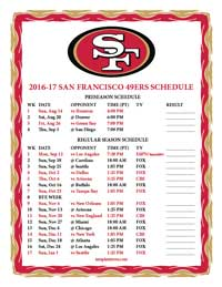 San Francisco 49ers Schedule 2016-2017