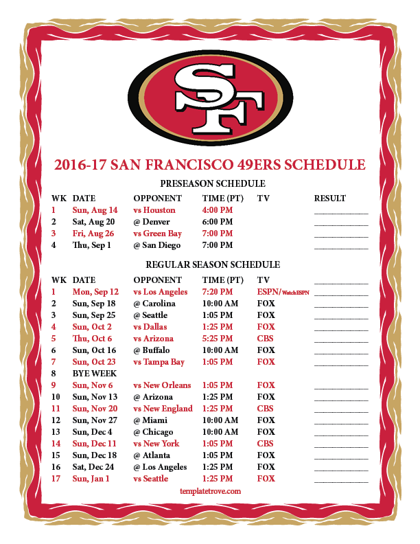 2016-2017-Printable-San-Francisco-49ers-Schedule-PNG October Newsletter Template on free downloadable preschool, printable downloadable,