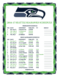 Seattle Seahawks 2016-2017 Schedule