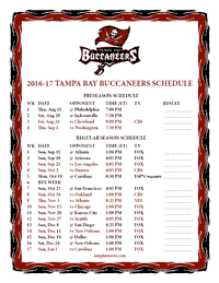 Tampa Bay Buccaneers 2016-2017 Schedule