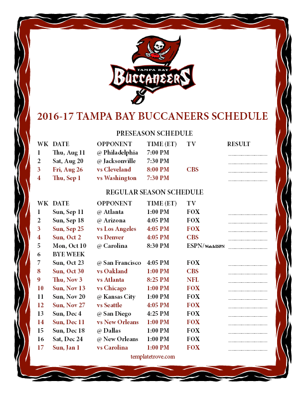 photo regarding Nfl Schedule Week 17 Printable identify Printable 2016-2017 Tampa Bay Buccaneers Timetable