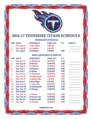 Tennessee Titans 2016-17 Printable Schedule