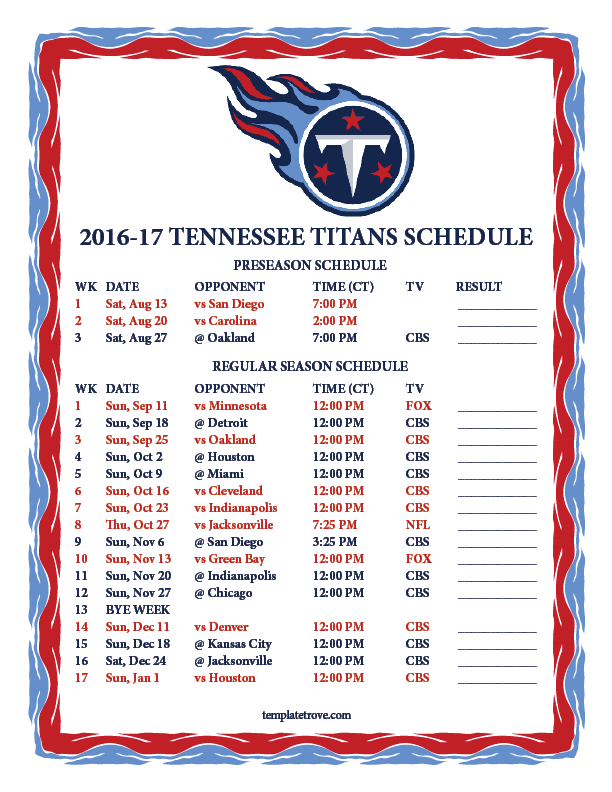 printable 2016 2017 tennessee titans schedule