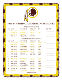 Washington Redskins 2016-2017 Schedule