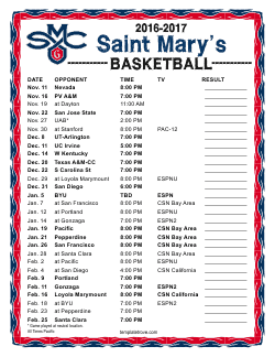 2016-2017 St. Mary's Gaels Basketball Schedule