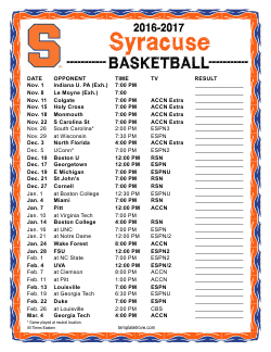 Printable 2016 2017 Syracuse Orange Basketball Schedule