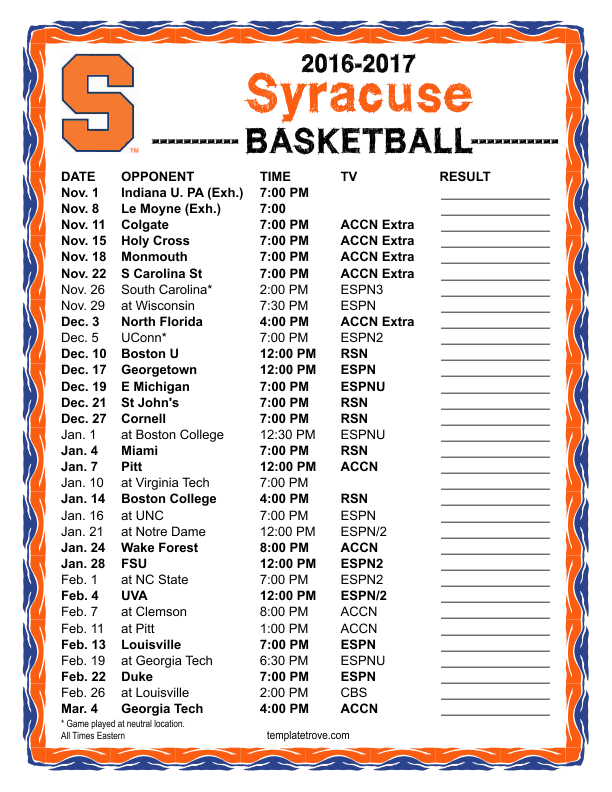 image regarding Syracuse Basketball Schedule Printable identified as Printable 2016-2017 Syracuse Orange Basketball Agenda