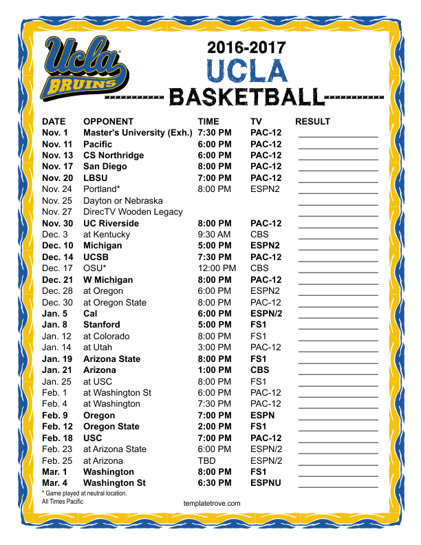Ucla Calendar.Printable 2016 2017 Ucla Bruins Basketball Schedule