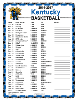 image relating to Uk Basketball Printable Schedule referred to as Printable 2016-2017 Kentucky Wildcats Basketball Timetable
