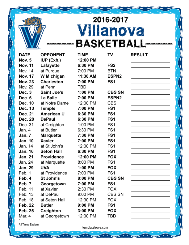 Printable 2016 2017 Villanova Wildcats Basketball Schedule