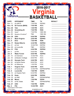 Printable 2016-17 Virginia Cavaliers Basketball Schedule