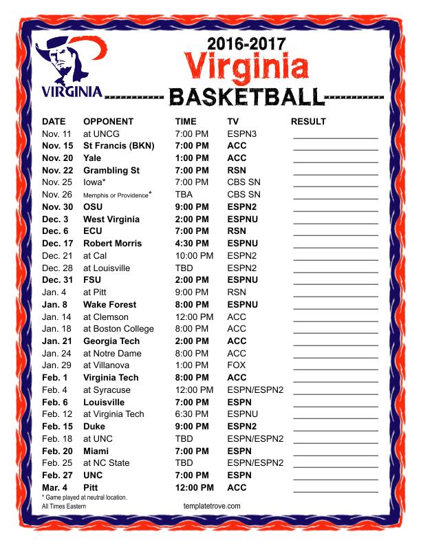 image regarding Cavs Printable Schedule identify Printable 2016-2017 Virginia Cavaliers Basketball Timetable