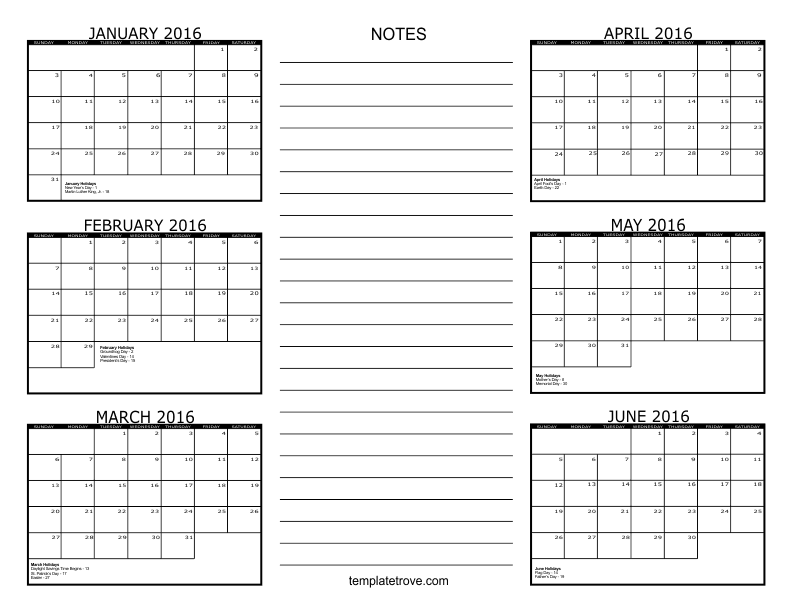 search results for 6 month free printable calendar 2016