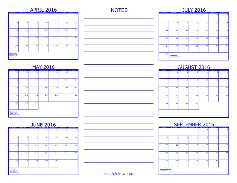 6 Month Calendar - 2016