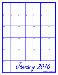 2016 Blank Monthly Calendar - Blue