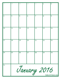 2016 Blank Monthly Calendar - Green