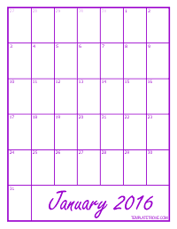 2016 Blank Monthly Calendar - Purple