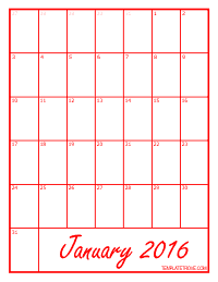 2016 Blank Monthly Calendar - Red