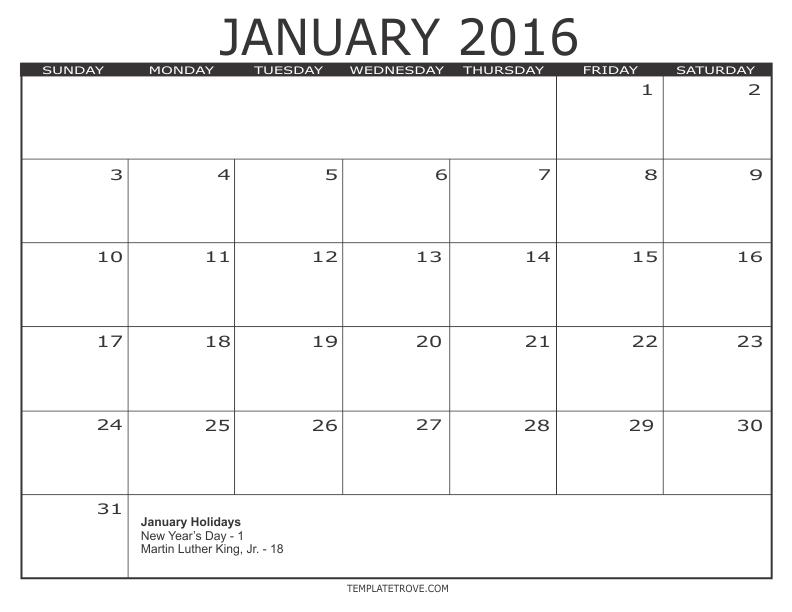 Black Free Printable Calendar 3